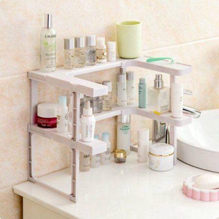 Spice Rack Shelf Stackable Pantry Pan Pot Organizer Kitchen Storage Tool White Rack Shelf Shelves Kitchen Storage Organization