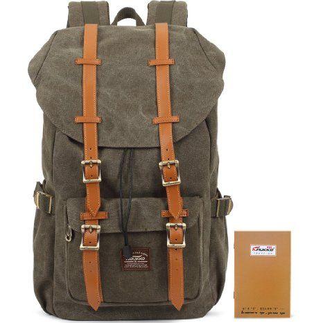 KAUKKO High Density 16OZ Canvas Rucksack Vintage Unisex Taschen für Männer Reise Camping Wandern Sportrucksäcke Army Green