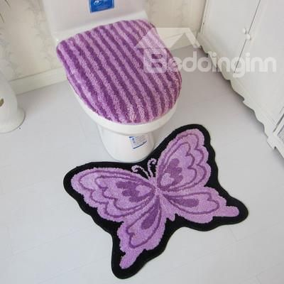 Graceful Soft Butterfly Design 3 Piece Toilet Seat Cover And Rug Set # Bathroom #