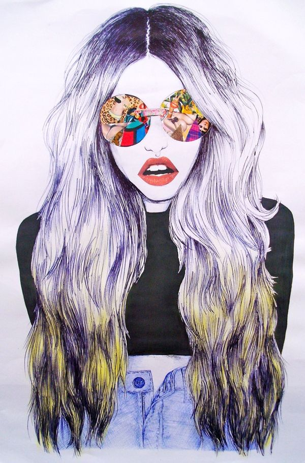 love the collage on the glasses ---- I LOVE ILLUSTRATION * FASHION ILLUSTRATION * ILLUSTRATION BLOG: Jaymie Johnson