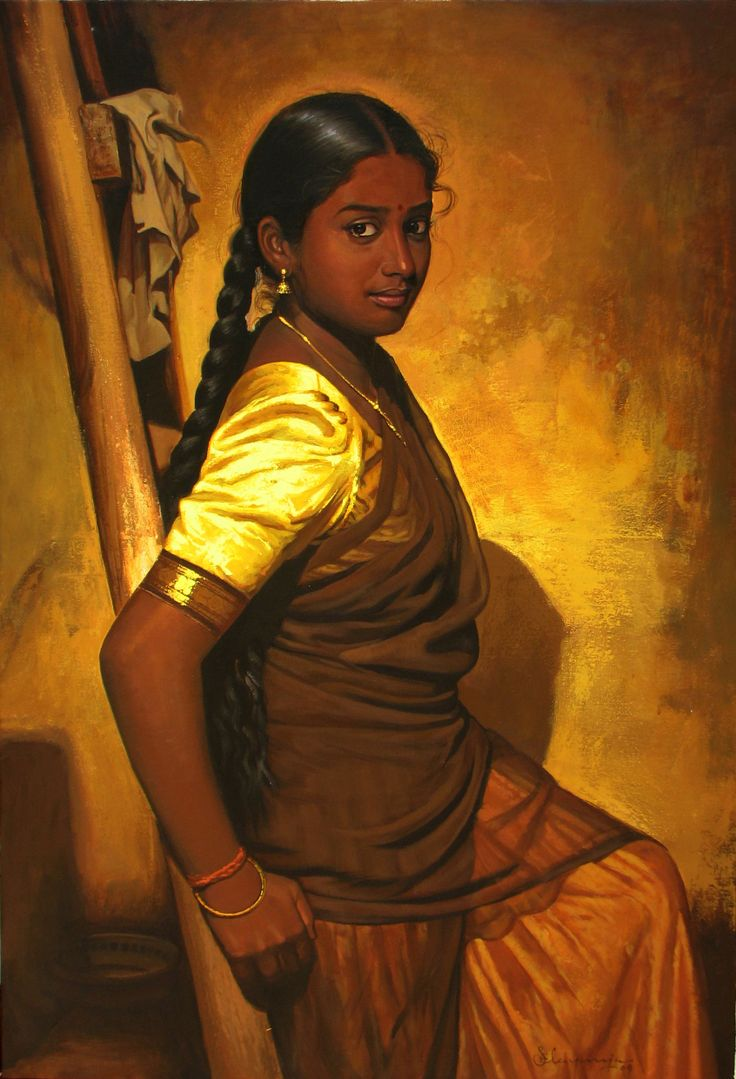 Tamil girl with Ladder - Painting by S. Elayaraja  (www.elayarajaartgallery.com