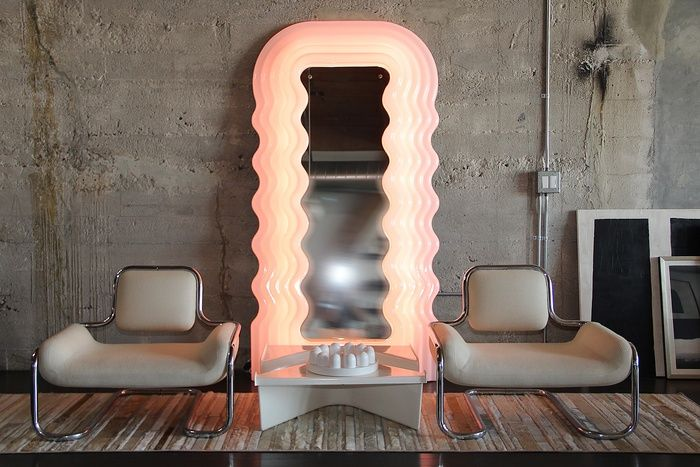 Ultrafragola Mirror. I love the mix of Sottsass' passions here. its sensual wavy shape, use of colour within lighting and of course giving meaning to everyday objects.