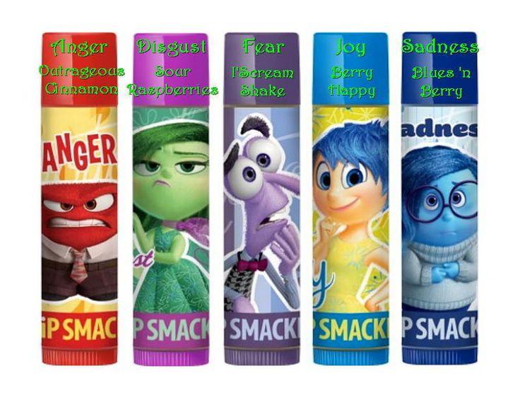 1 Lip Smacker Disney Inside Out Anger Cinnamon Disgust Fear Joy Sadness Bluebery #LipSmacker