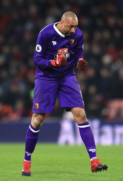 Heurelho Gomes of Watford celebrates Watford second goal during the Premier League match between AFC Bournemouth and Watford at Vitality Stadium on January 21, 2017 in Bournemouth, England.