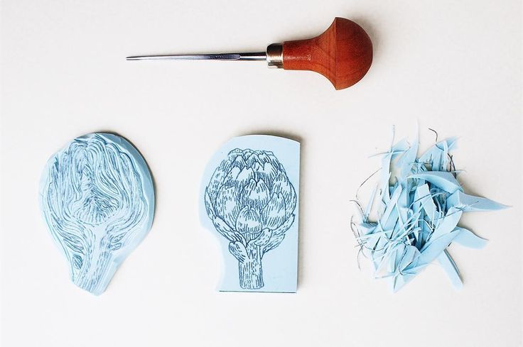 Cleaning the artichokes. Handcarved rubber stamp by Paprika Paper Goods.