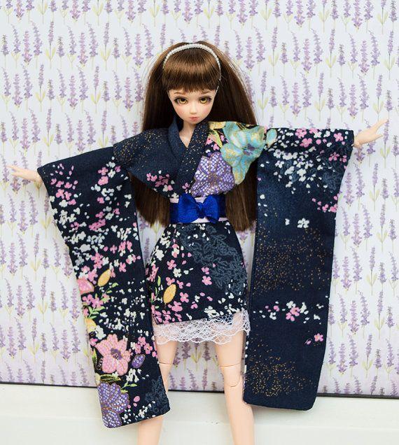 Short Kimono for Obitsu, Momoko, Azone, Unoa, JDoll, Pullip and other 1:6 dolls