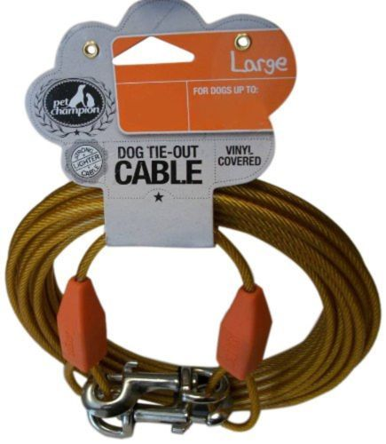 Tie-Out-Cable-for-Dogs-Large-Up-to-90-Pound-25-Feet-Long-Kennel-Yard-Dog-Run