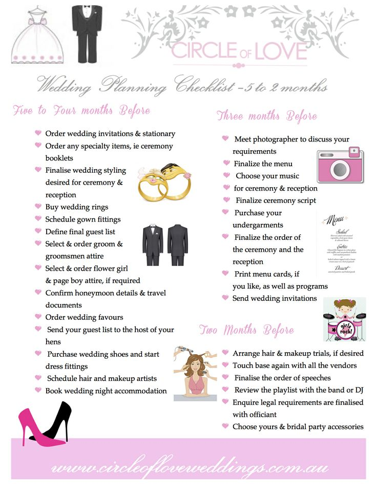 2 Circle Of Love Wedding Planning Checklist 5 Months To Before Our