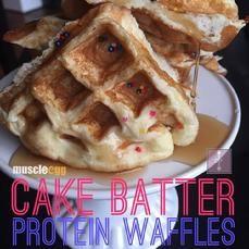 Cake Batter MuscleEgg 100% Protein Belgian Waffles via @danitzad