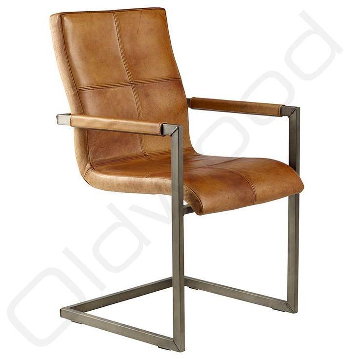 Eetkamerstoel Livio cognac quadrant Stoere industriele stoel met decoratieve vierkanten in zitting. Kleur: cognac. Ook verkrijgbaar in zwart en bruin.