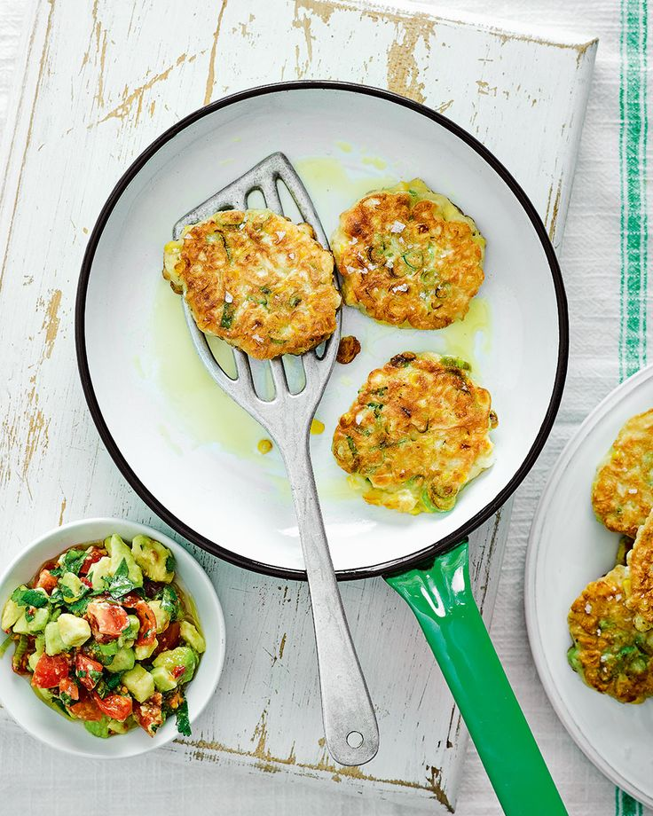 Sweetcorn fritters, served with an avocado salsa, makes a perfect weekend brunch. These are both easy to prepare and quick to make –perfect for feeding a crowd.