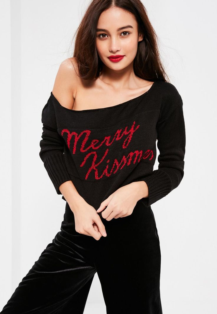 Black Merry Kissmas Cropped Jumper - Missguided