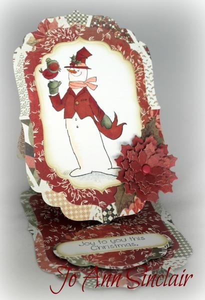 Art Impressions Joyful Christmas Set (Sku#4314) Snowman easel card.