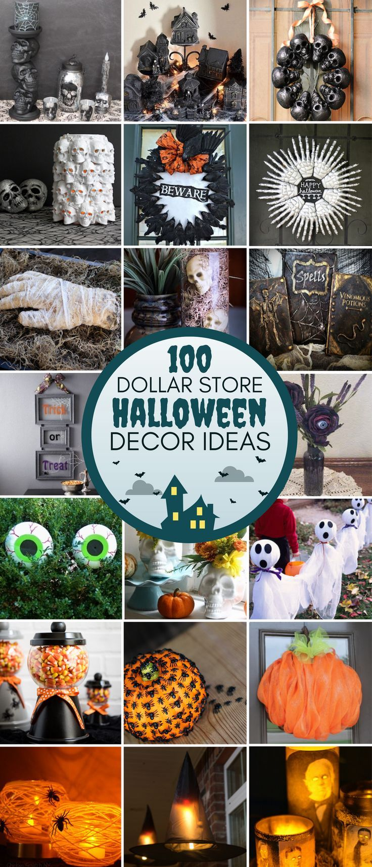 100 dollar store halloween decor diy ideas halloween ideen halloween deko und grusel. Black Bedroom Furniture Sets. Home Design Ideas