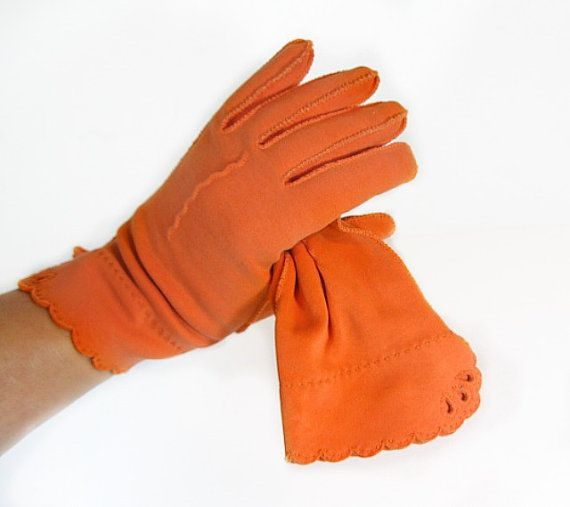 Vintage Orange Gloves in Wrist Length Brushed Cotton by autena, $9.00