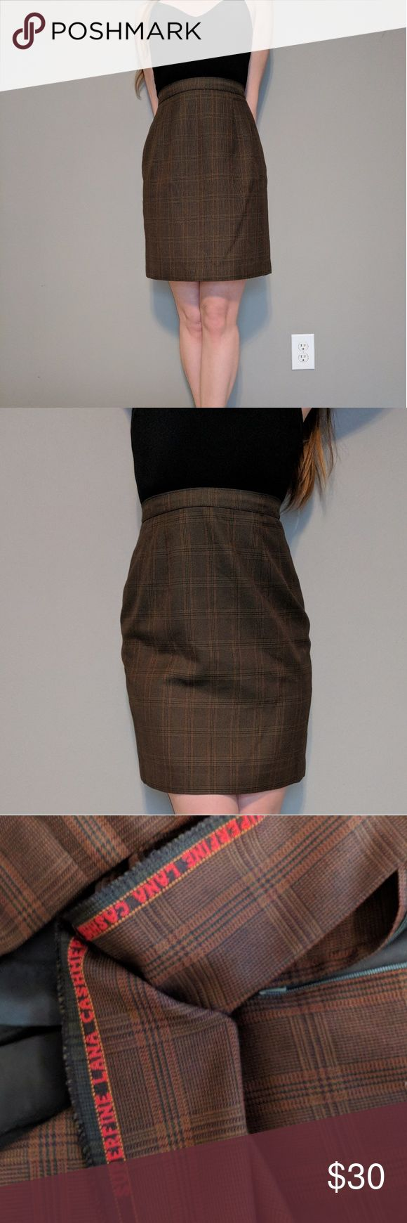 "VTG 60's Cashmere Tartan Plaid Khaki Pencil Skirt Amazing condition! Repurposed handmade vintage 1960's olive colored tartan plaid wool secretary pencil skirt. High waist. Zips up the back with hook clasp closure. Silky teal inner lining. Just the most perfect color that goes with anything.  Fabric: Superfine Lana Cashmere Color: Olivey brown / Khaki Condition: Excellent. No rips, tears, or stains! No size or brand tags. Stitching reads ""Superfine Lana Cashmere by Donel""  Length: 21"" Waist…"