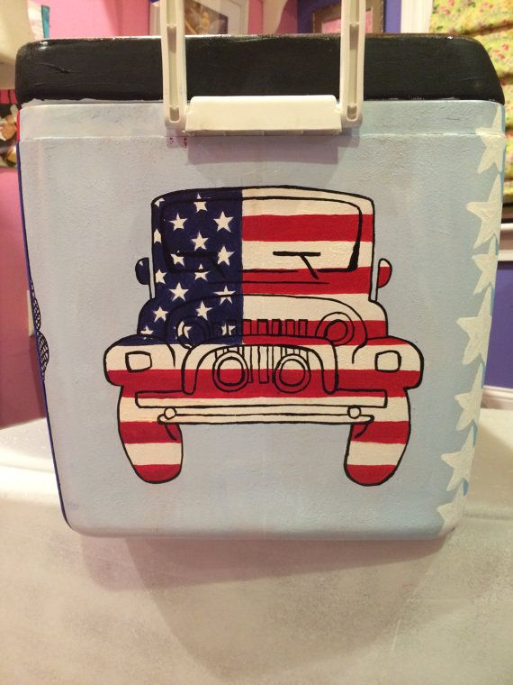 48 L Hand Painted Cooler Completely Customized by EMHCoolers