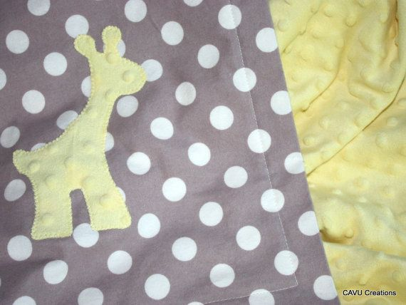 Gray & White Polka Dot and Yellow Minky Baby by CAVUcreations, $44.00