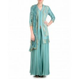 Vintage Blue Palazzo Suit with Gota Work