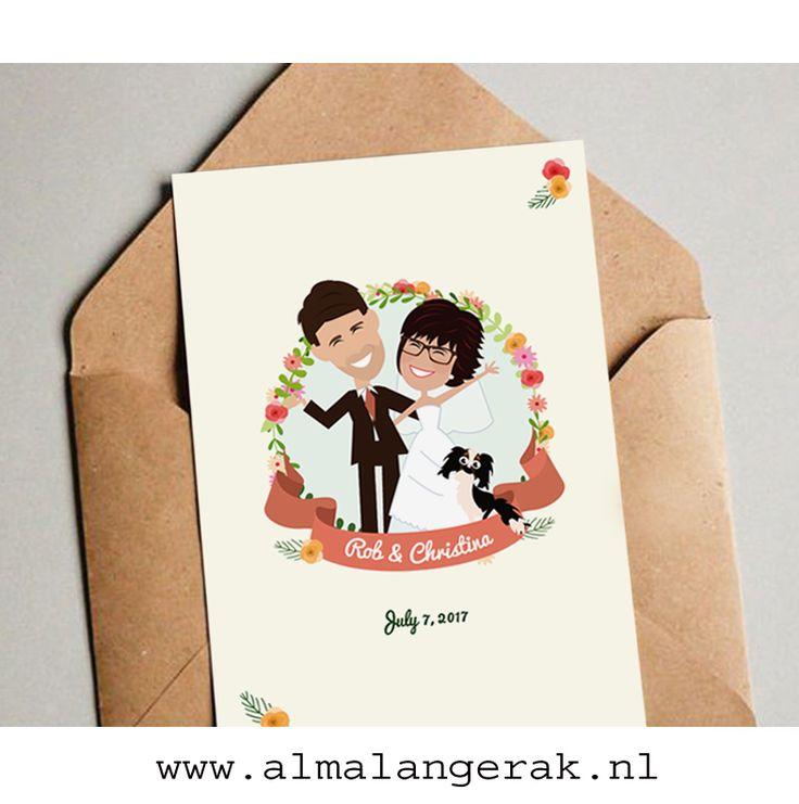 Deze trouwkaarten mocht ik voor Rob en Christina maken.  Op deze kaarten een hippe krans met bloemen en takken.   Daarnaast staan Rob en Christina en hun cocker spaniel op deze trouwkaartjes nagetekend als cartoon.  Rob en Christina, het duurt nog even, maar alvast een mooie bruiloft toegewenst  #cockerspaniel #cocker #spaniel #hond #trouwkaarten #trouwkaartjes #uitnodigingen #portret #cartoon #krans #bloemen #bloemenkrans #hipster #hondje #geboortekaartjes #maatwerk #portret #nagetekend…