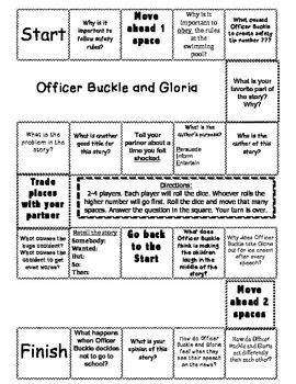 """""""Officer Buckle and Gloria"""" Comprehension Game Board"""