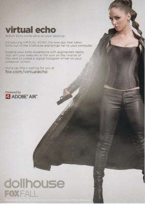 Dollhouse TV show series 2009 SDCC 5 x 7 promo card Eliza Dushku Joss Whedon
