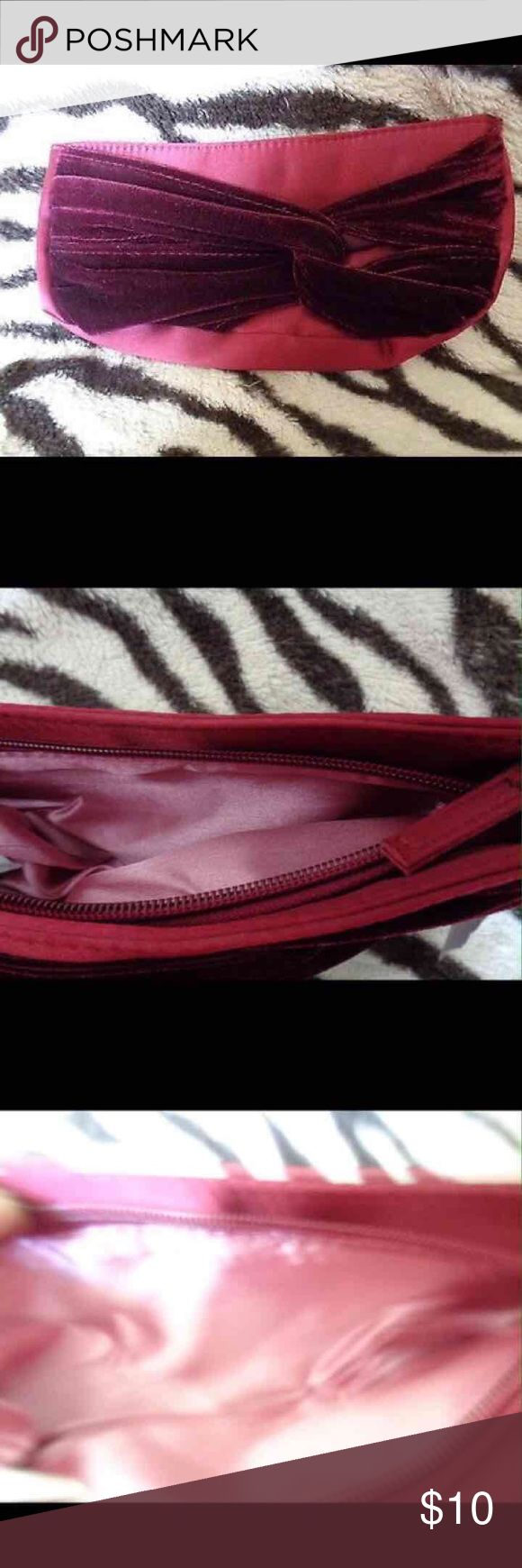 """Avon Maroon Pink Clutch Bag Avon Satin Velvet Look and Maroon Pink Clutch Bag  Darling Avon purse.  The interior pink. Zipper for closure Approximately 5""""height x 10""""length        ♡GOD BLESS♡ ☆BUNDLE AND SAVE☆ Bags Clutches & Wristlets"""