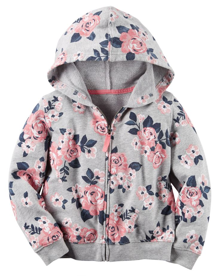 Toddler Girl French Terry Floral Zip-Up Hoodie | Carters.com