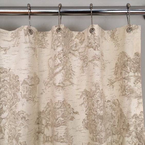 Farmhouse Shower Curtain Toile De Jouy Fabric Gray