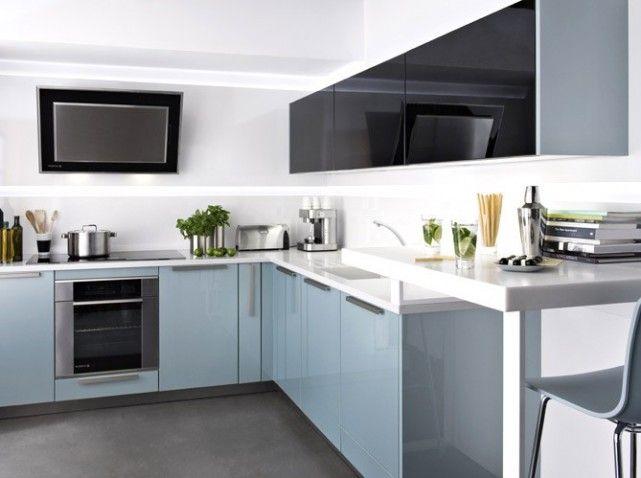 1000 id es sur le th me cuisines bleu clair sur pinterest for Mobilier cuisine moderne