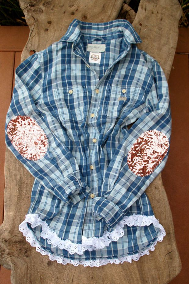 23 best embellished flannels images on pinterest for Mens flannel shirt with elbow patches