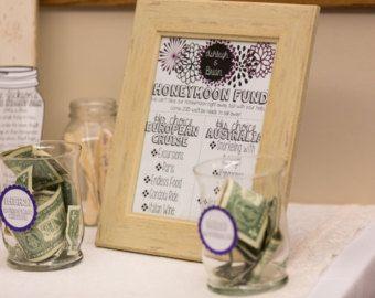 Honeymoon Fund Jar / Bridal Shower Gift / Money Jar by TheLaceMoon