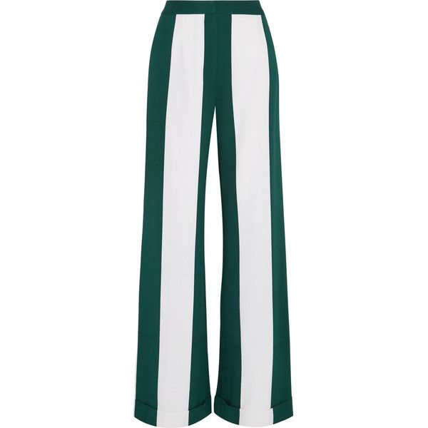 Monse Striped silk-blend crepe wide-leg pants ($1,815) ❤ liked on Polyvore featuring pants, forest green, striped pants, high-waisted trousers, crepe pants, white trousers and white pants