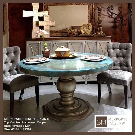 Copper Dining Table Round Luxury Dining Room Furniture High End Round Dining Table Vintage Round Wooden Table Model 1202 D Dining Table Copper Dining Table Luxury Dining