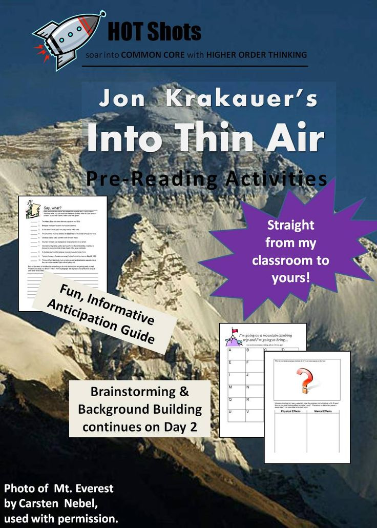 images about teaching into thin air on pinterest  trekking  into thin air by jon krakauer  pre reading activities