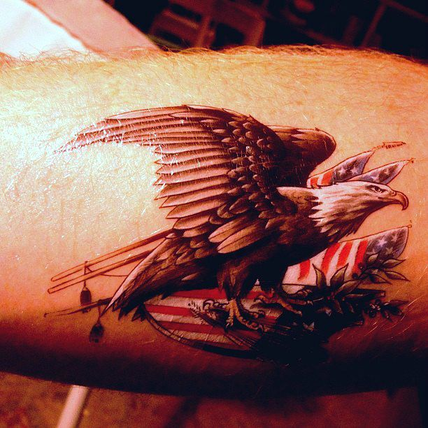 Eagle &amp Flag Temporary Tattoo Perfect For 4th Of July $077  Tattoos
