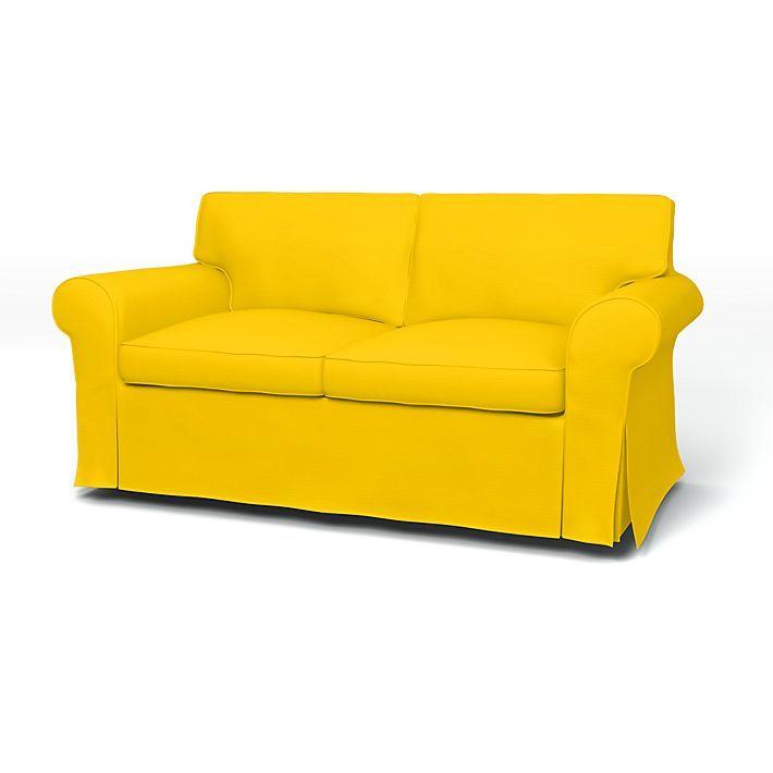 Ektorp, Sofa Covers, 2 Seater, Regular Fit using the fabric Panama Cotton Sun Yellow