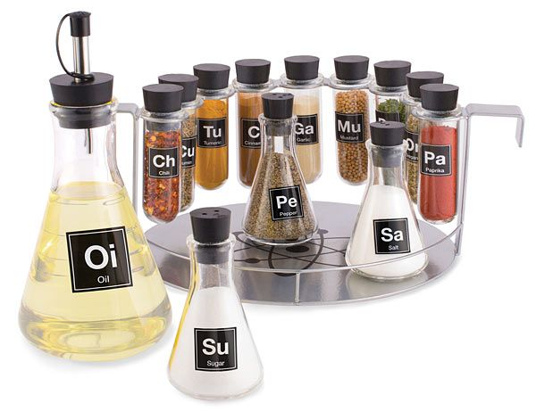 "Chemist's Spice Rack | ThinkGeek  Even though the salt is labeled ""Sa"" instead of ""NaCl"", I still seriously need this."