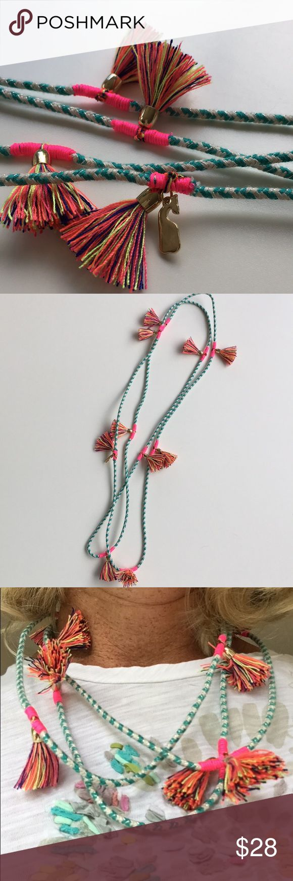 Vineyard Vines Tassel Necklace So fun and versatile. Can be worn long or short, layered with other necklaces, and also wrapped as a bracelet. Purchased in Nantucket, and haven't seen it at any other store location, or on website. Bright pink and turquoise with gold accents. Worn once. Vineyard Vines Jewelry Necklaces