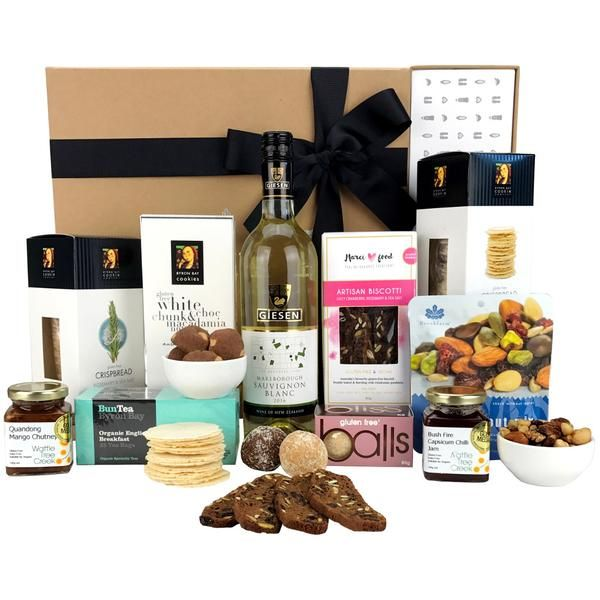 Wine gift hampers - delicious Australian gourmet foods paired with New Zealand wine.