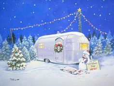 Create this winter scene with multi color C-9s hanging above tree/trailer