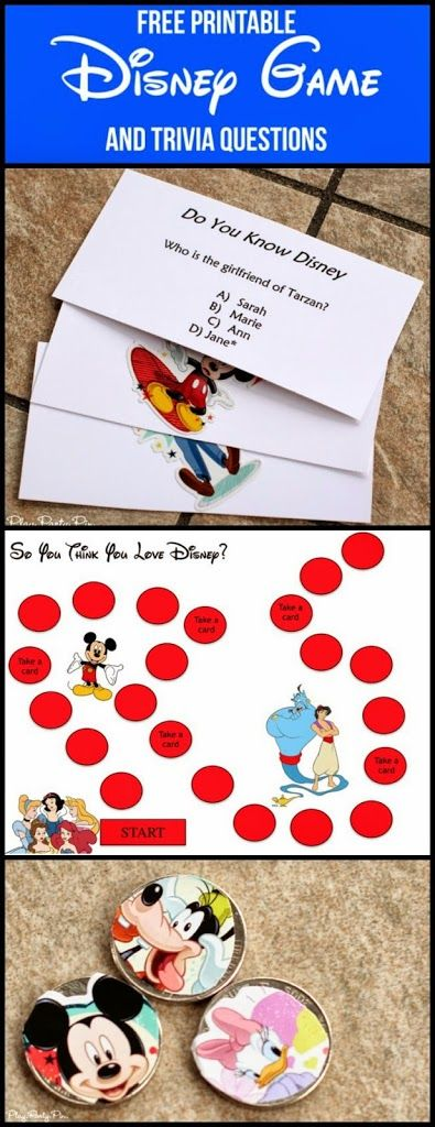 Free printable Disney board game and trivia questions from playpartypin.com