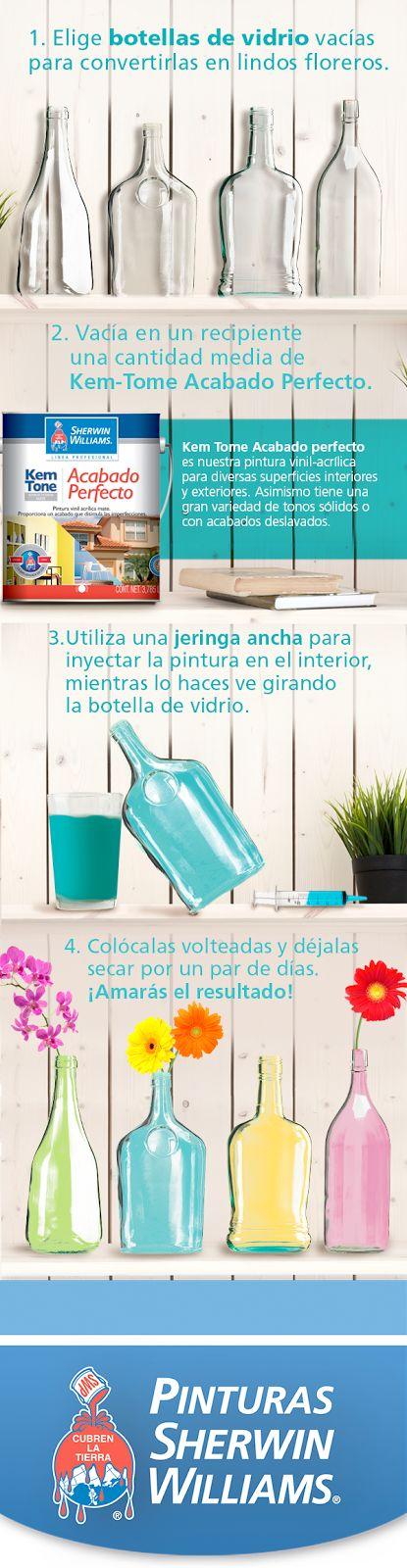 #EstoPintaBien ¿Quieres darle mayor color y vida a tus interiores? Haz estos jarrones con botellas pintadas con ayuda de #SherwinWilliams. ¡Te encantarán!