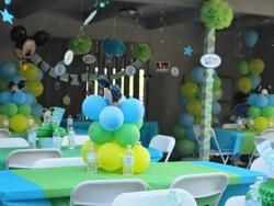 Mickey Mouse 1st Birthday Party  Birthday - Green and Blue