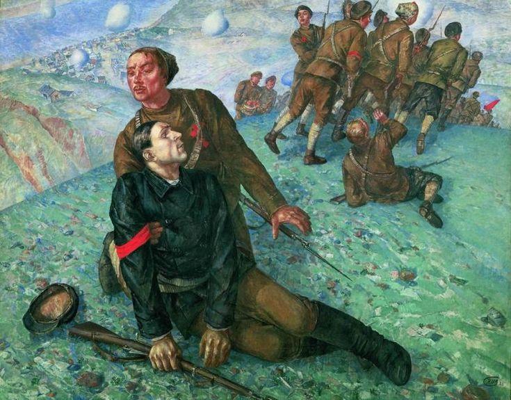 Петров-Водкин К.. Смерть комиссара. 1928. Русский музей.