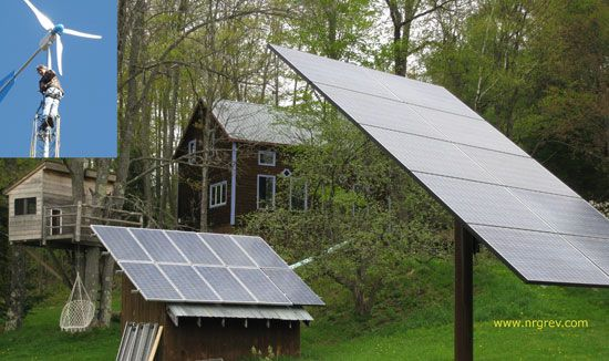 Renewable energy expert Paul Scheckel took his time building his house, and thus avoided taking out a mortgage. His off-grid home is powered by sun and wind. From MOTHER EARTH NEWS magazine.