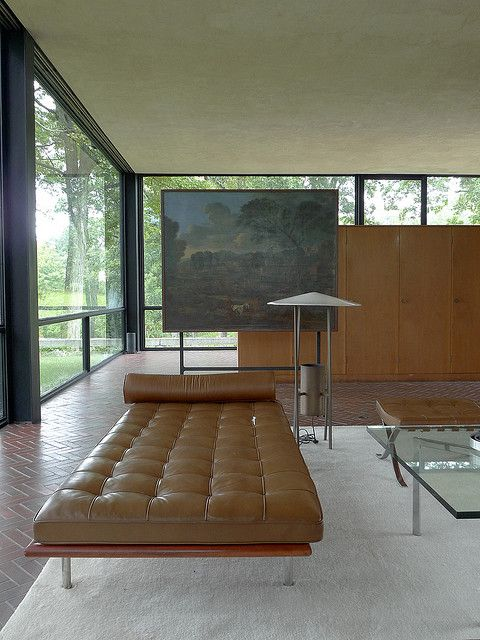 Mies van der Rohe - daybed. Interior view of Johnson's Glass House in New Canaan, CT.