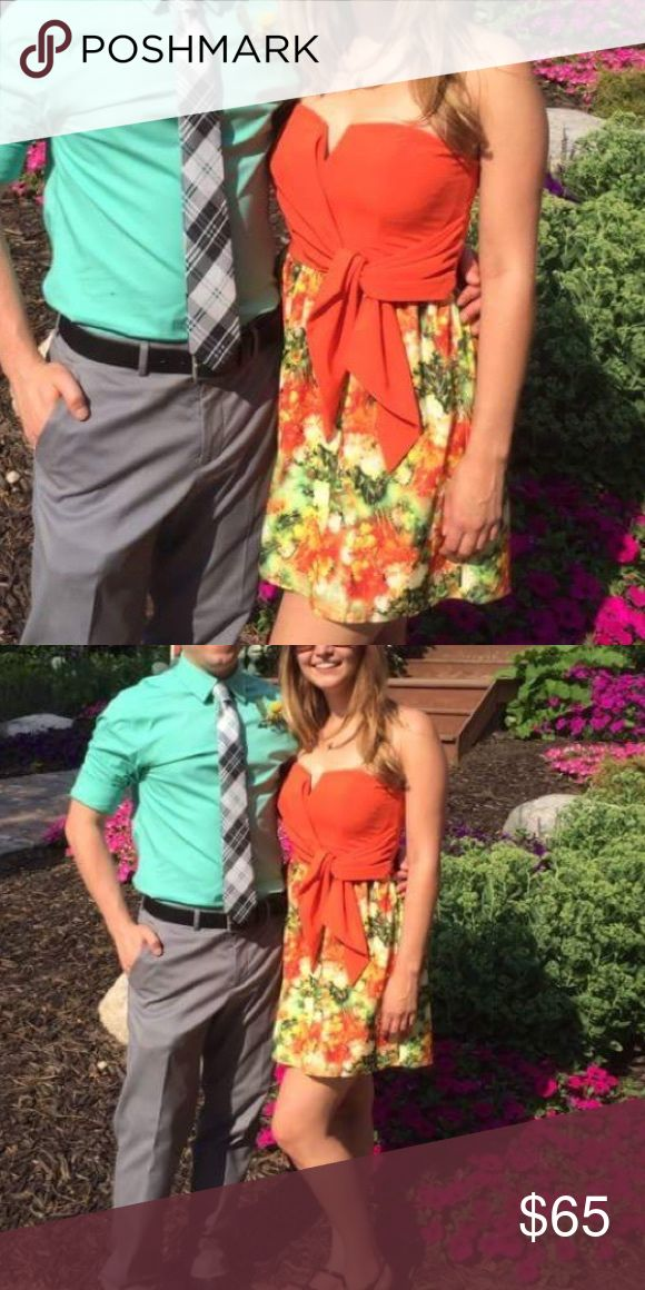 Orange Party Dress Orange Party Dress worn once! Small indent from the hanger clip on each side. Dresses Strapless