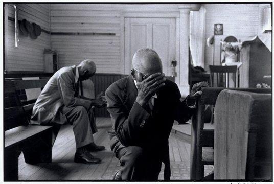 Constantine Manos //Men praying in church, Daufuskie Island, South Carolina, 1952
