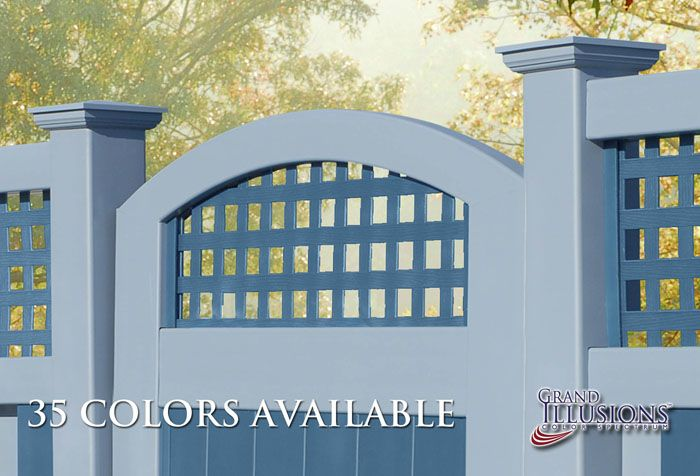 V3215SQ-6 Tongue and Groove Vinyl Privacy Fence with Square Lattice Toppers and VBG4-46 Crowned Accent Gate. Shown here with Posts and Rails in Grand Illusions Color Spectrum Federal Blue (E102) and Panels and Lattice in Atlantic Blue (E118).